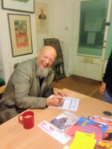 Michael Eavis signing Chris' nomination papers as the Labour Candidate in the Wells Constituency