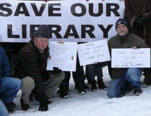 Chris Inchley, campaigning to save Somerset's libraries.